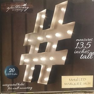 LED Hashtag, Number Symbol Marquee Sign